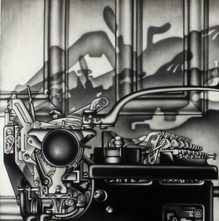 Remington Return (side profile of typewriter casting dramatic shadows on door) - Print by Carol Wax