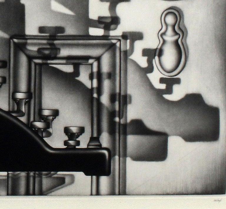 Remington Return (side profile of typewriter casting dramatic shadows on door) - Black Still-Life Print by Carol Wax