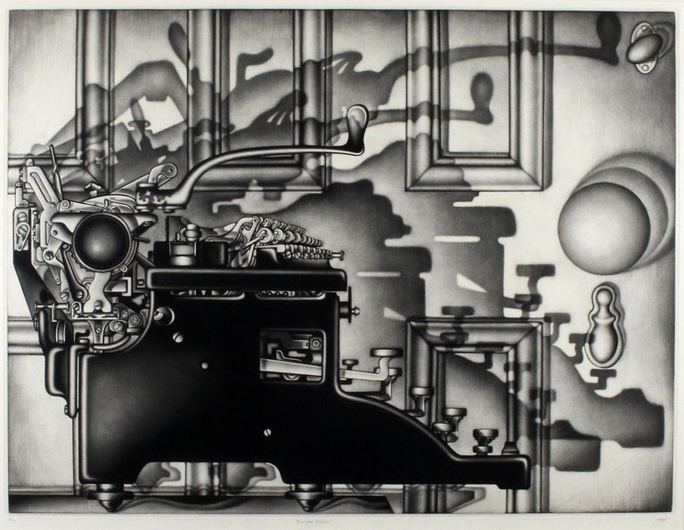 Carol Wax's dramatic profile of a Remington typewriter was created in mezzotint in an edition of 75.  It is rendered largely as a flat space that appears three dimensional by the application of light.  Carol Wax (American, b. 1953) Carol Wax