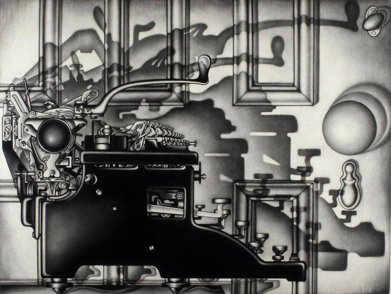 Carol Wax Still-Life Print - Remington Return (side profile of typewriter casting dramatic shadows on door)