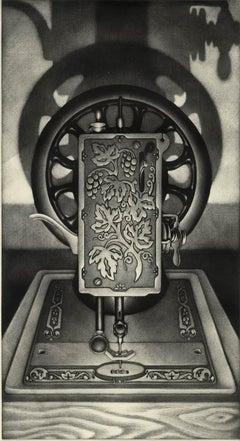 Singer II (Woodgrain, incised metal plate of a Singer typewriter casts shadows)