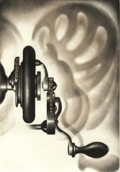 Singer III (The wheel turning part of a sewing machine casts shadows on wall)