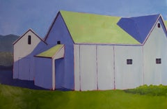 """""""Blue Heather and Green,"""" Contemporary Barn Painting"""