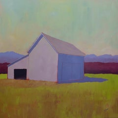 'Blush and Burgundy', Bold Contemporary Farm Acrylic Painting