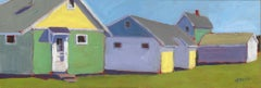 'Candy Cottages', Small Contemporary Beach Cottage Acrylic Painting