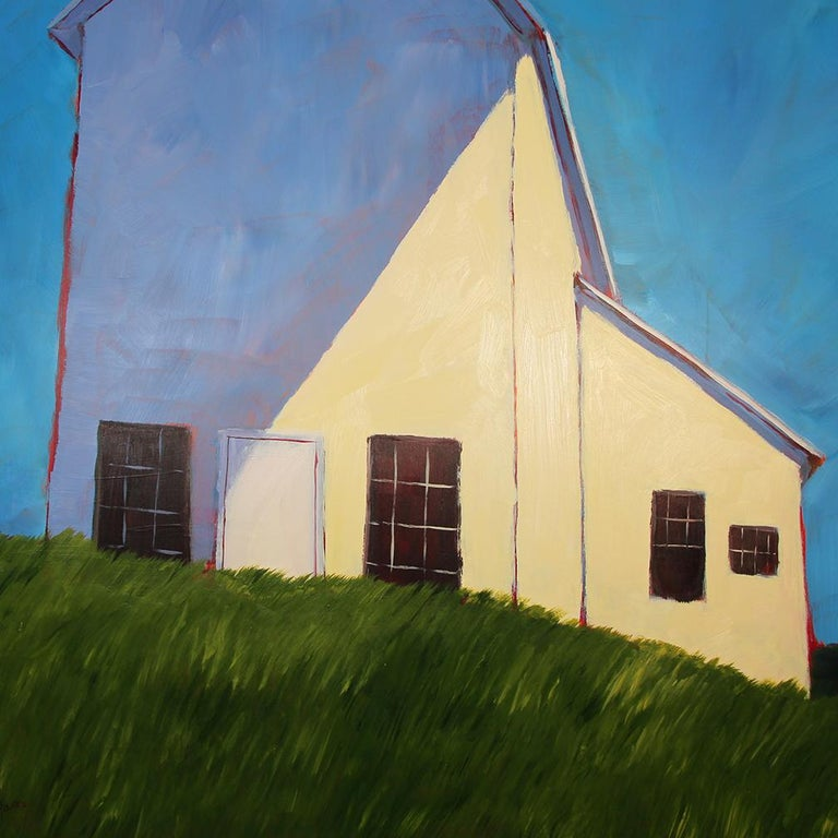 'Cedar Hill', Contemporary Modern Farm Landscape Acrylic Painting - Blue Abstract Painting by Carol Young