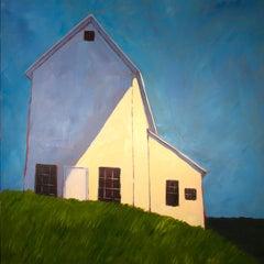 'Cedar Hill', Contemporary Modern Farm Landscape Acrylic Painting