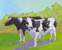 'Cows In Reverse', Small Contemporary Transitional Acrylic Painting