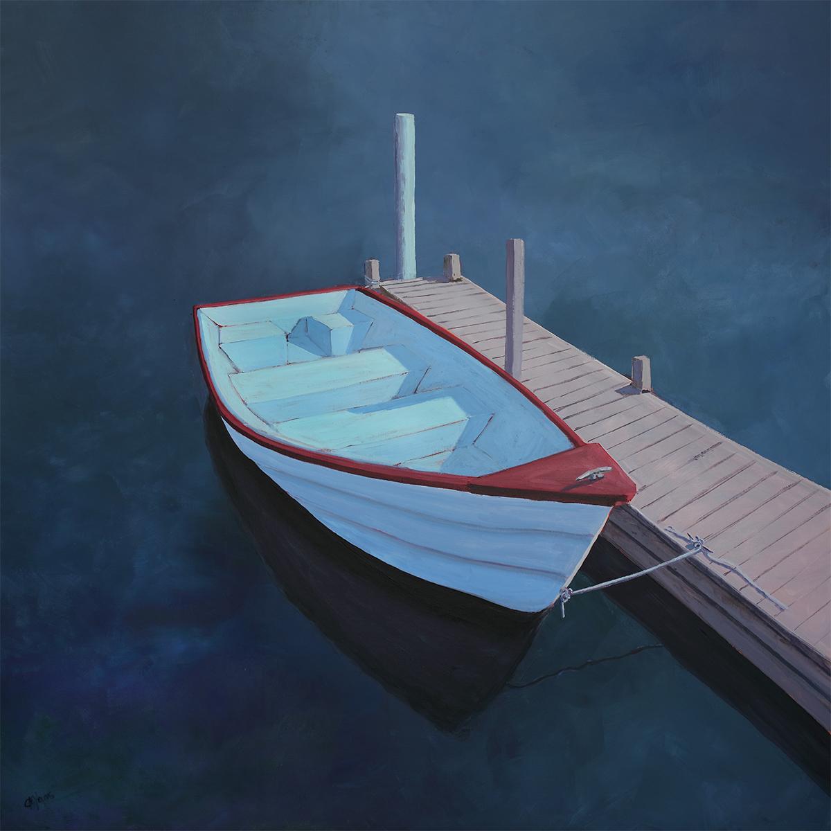 """Denim Harbor,"" Contemporary Coastal Painting"