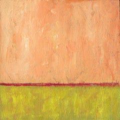 'Fields and Fire', Modern Minimalist Abstract Landscape Acrylic Painting