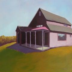 'Ken's Barn', Contemporary Modern Farm Landscape Acrylic Painting