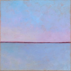 'Marshmallow Mauve', Small Abstract Minimalist Landscape Acrylic Painting