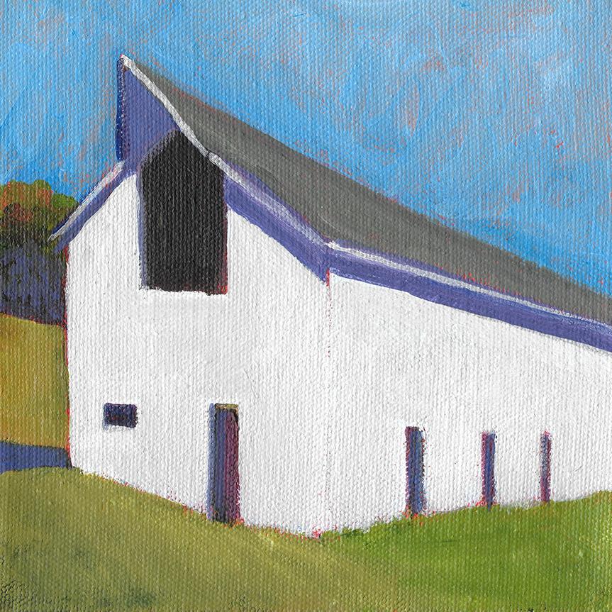 'Sunny Hillside', Small Acrylic Painting