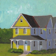 'Victorian Farm House', Small Contemporary Transitional Farmhouse Painting