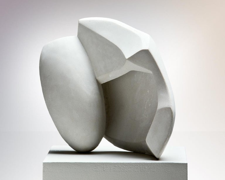 Abstract sculpture with beautiful curved lines.  'Steinguss' sculpture, composite material mostly made of cement Signed and numbered sculpture Limited edition 1/3 Measure: 29 x 35 x 13 cm.