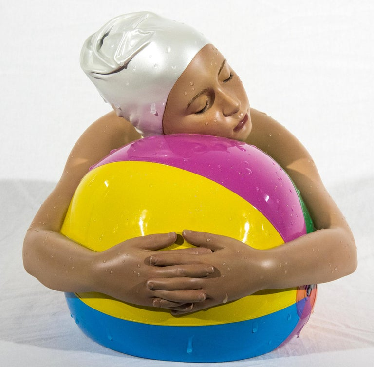 Miniature Brooke with Beach Ball - cast resin, hyperrealism, female, sculpture For Sale 5