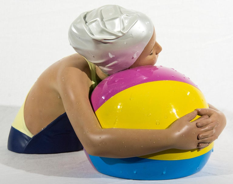 Miniature Brooke with Beach Ball - cast resin, hyperrealism, female, sculpture For Sale 6