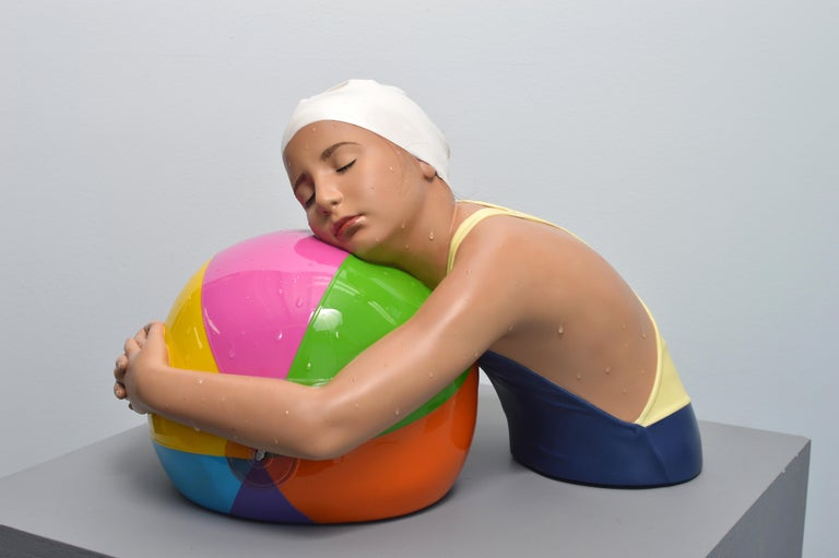 Miniature Brooke with Beach Ball - cast resin, hyperrealism, female, sculpture For Sale 7