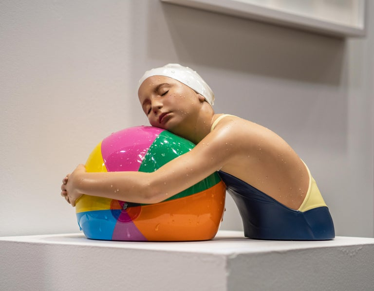 Miniature Brooke with Beach Ball - cast resin, hyperrealism, female, sculpture For Sale 8