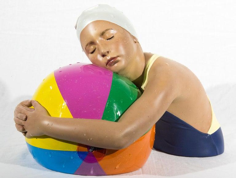 Miniature Brooke with Beach Ball - cast resin, hyperrealism, female, sculpture - Sculpture by Carole A. Feuerman