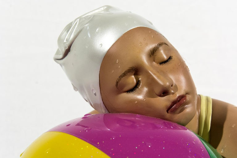Miniature Brooke with Beach Ball - cast resin, hyperrealism, female, sculpture - Contemporary Sculpture by Carole A. Feuerman