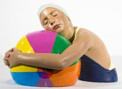 Miniature Brooke with Beach Ball - cast resin, hyperrealism, female, sculpture