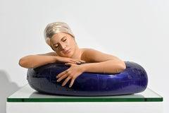 Serena with Purple Tube 2/10 - hyperrealism, female, resin sculpture