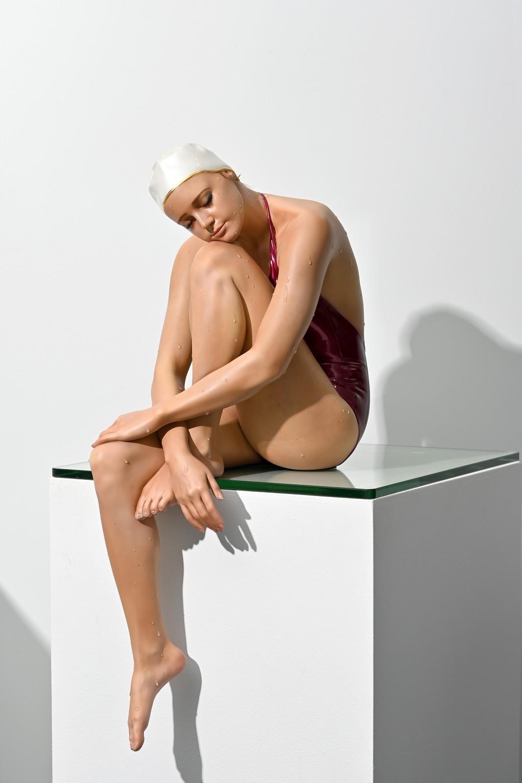 Serenity 1/8 - hyperrealism, female swimmer, cast resin sculpture