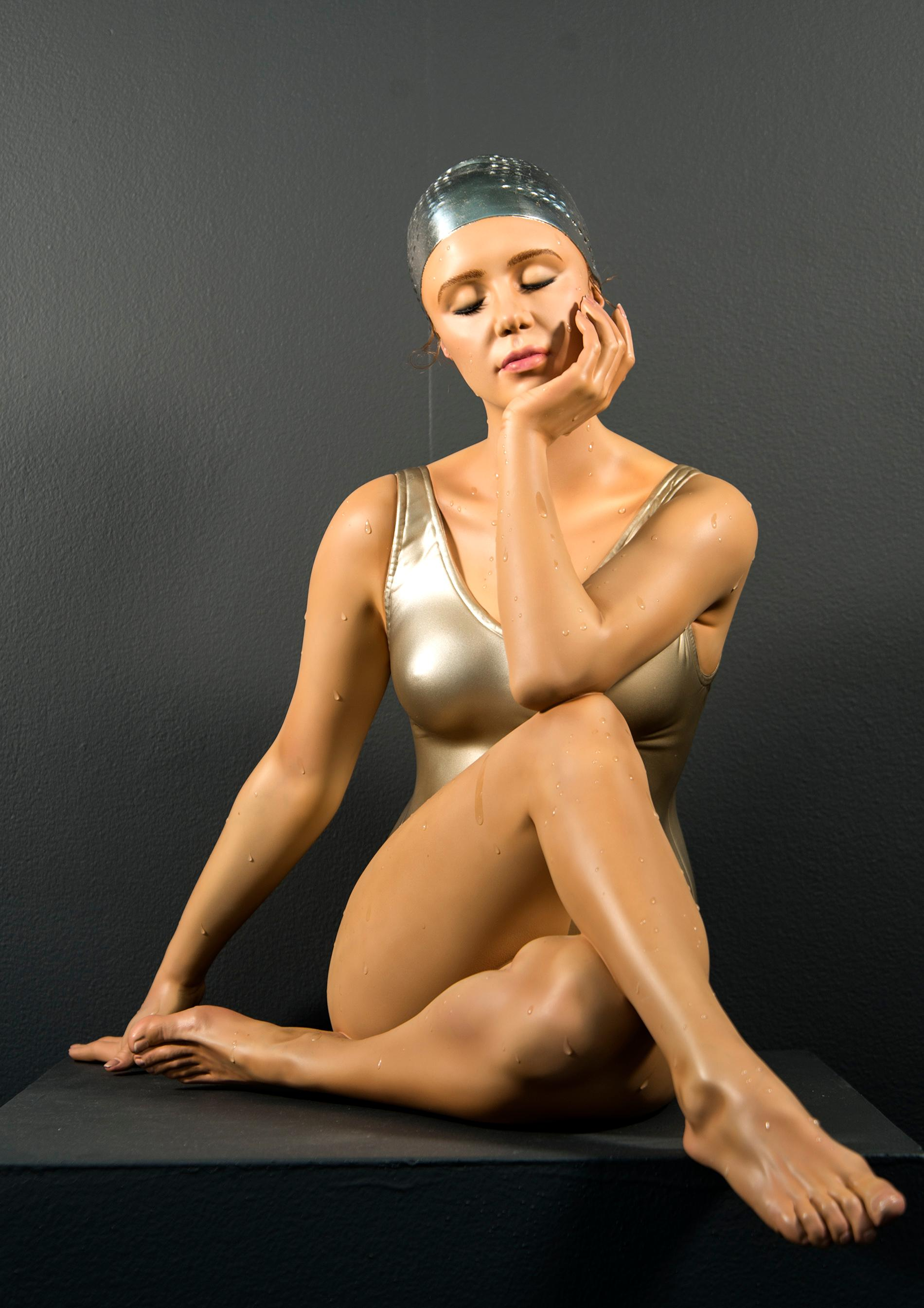 Table-Top Contemplation 3/8 - hyperrealism, female swimmer, cast resin sculpture