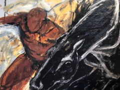"""""""Black Horse/Red Man"""" Charged painterly print of black moving horse and man 3/75"""