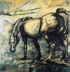 """""""Black Mare' Expressionistic print of a painting of a powerful black horse -9/25"""