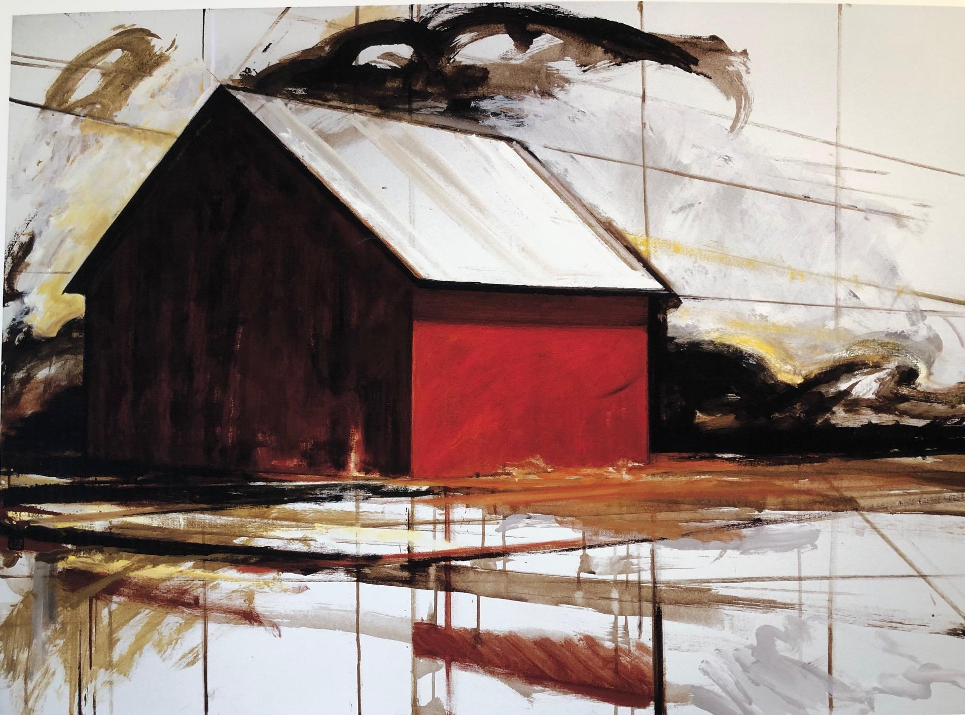 """""""Red Barn"""" Architectural painting of a red barn, geometric, graphic and bright"""