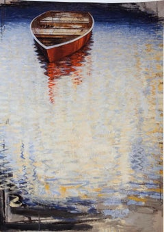 """""""Red Boat II """" Painterly rendition of a small row boat in the reflective water"""
