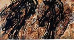 """""""Three Galloping"""" Running black and brown horses painted with wild brushstrokes"""