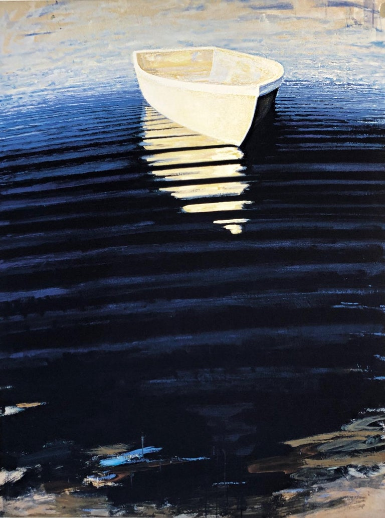 """Carole Bolsey Landscape Print - """"Waterfield Rowboat"""" Dark blue water striped with light reflections of boat"""