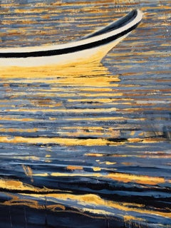 """""""Waterfields Boats at Akumal"""" Blue stripes reflecting boats on shimmering water"""