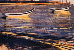 """""""Waterfields Boats at Akumel"""" painterly work of boats in reflecting purple water"""