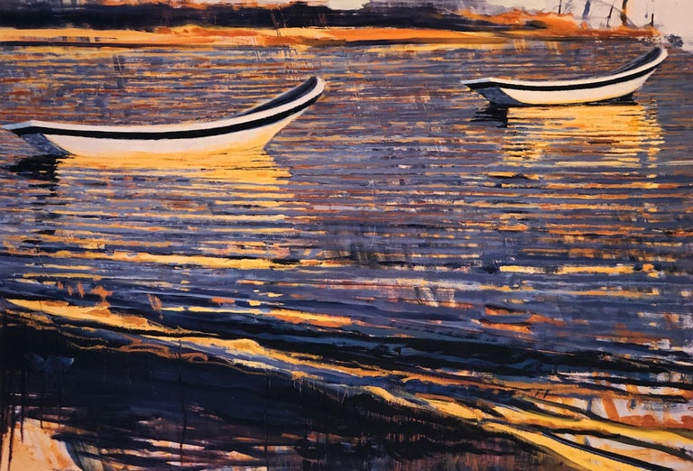 "Carole Bolsey Landscape Print - ""Waterfields Boats at Akumel"" painterly work of boats in reflecting purple water"