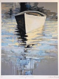"""Waterfields Fishing Boat"" Painterly scene of boat reflecting in blue water"