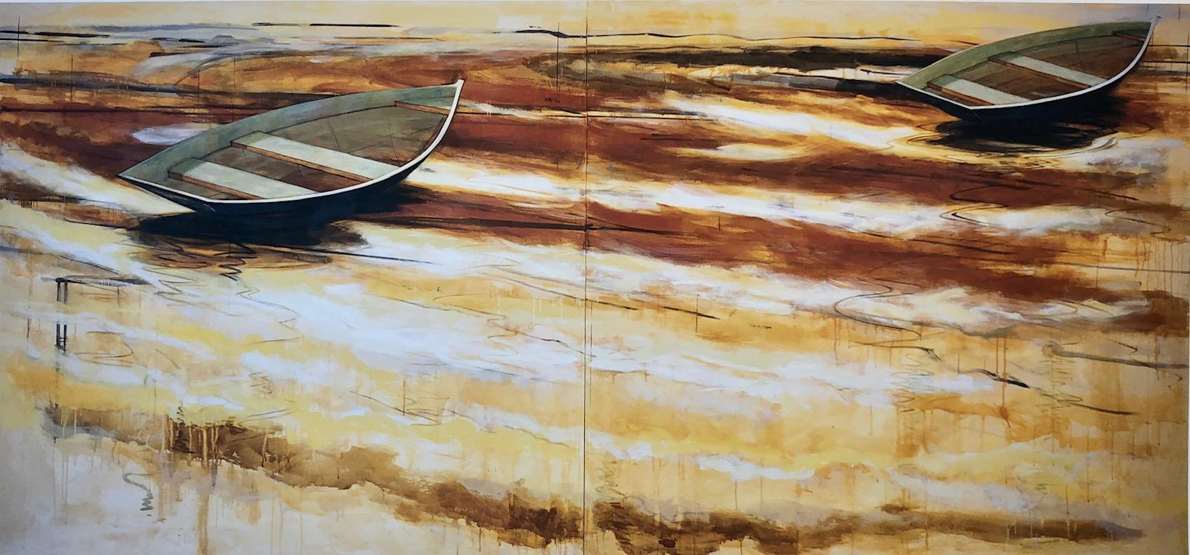 """""""Waterfields Out to Sea"""" Two simple boats float on warm golden reflecting water"""