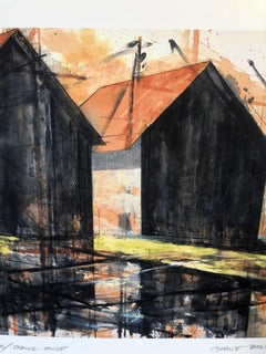 """Waterfields Springhouse"" Architectural painting of two barns in warm colors"