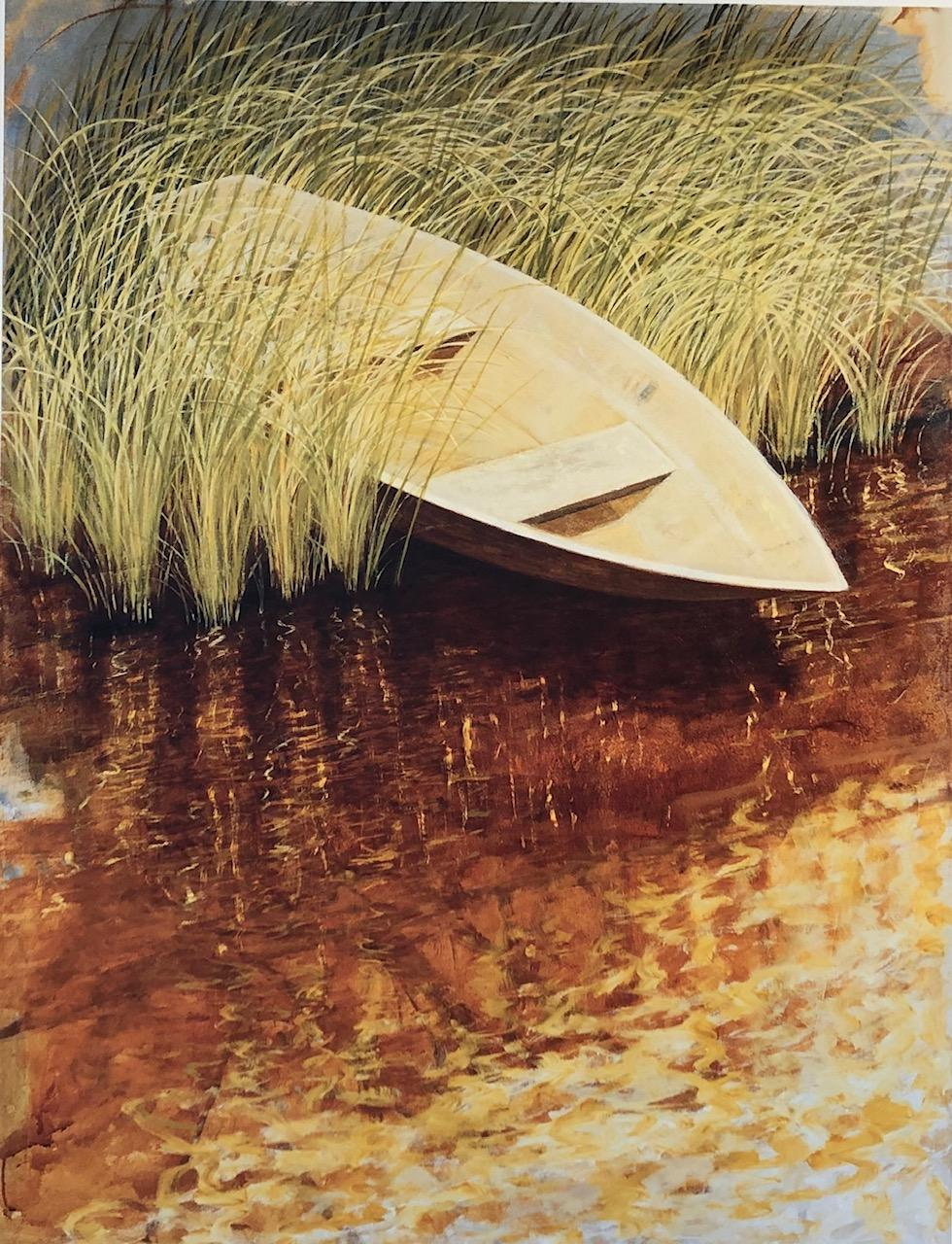 """""""Waterfields Water's Edge"""" Small row boat in the reeds sienna and yellow water."""