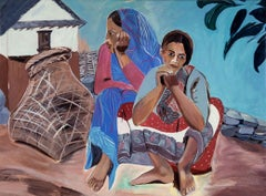 Himal Women.  Acrylic on canvas, portrait of two women