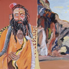 The Snake Charmer,  figurative painting of indigenous man, orange