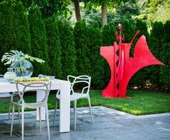 Queen of Hearts, Red Steel Sculpture, Outdoor, Found Metal, Garden Sculpture