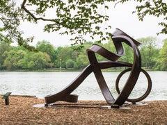 """Valentine II"", Abstract, Industrial Large-Scale Outdoor Sculpture in steel"