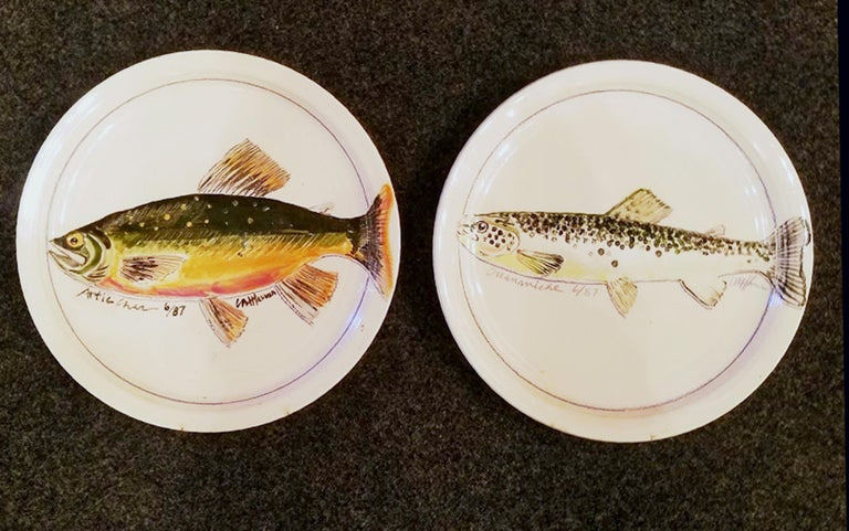 Carole Harman Ceramic Dishes Painted with Fish, Arctic Char & Ouananiche Salmon For Sale 3