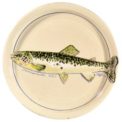Carole Harman Ceramic Dishes Painted with Fish, Arctic Char & Ouananiche Salmon
