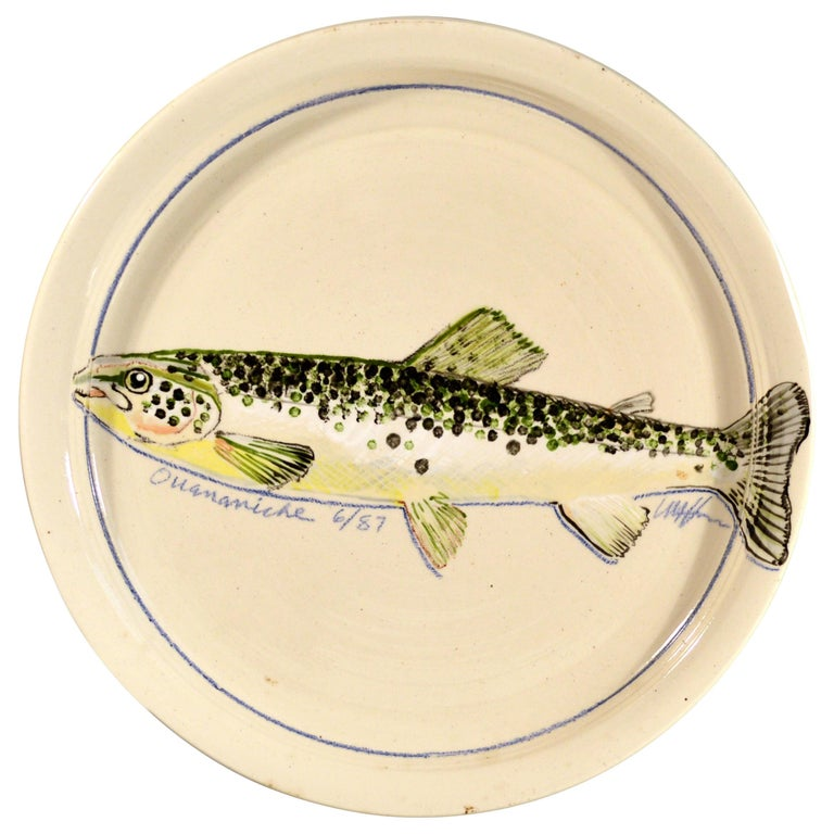 Carole Harman Ceramic Dishes Painted with Fish, Arctic Char & Ouananiche Salmon For Sale