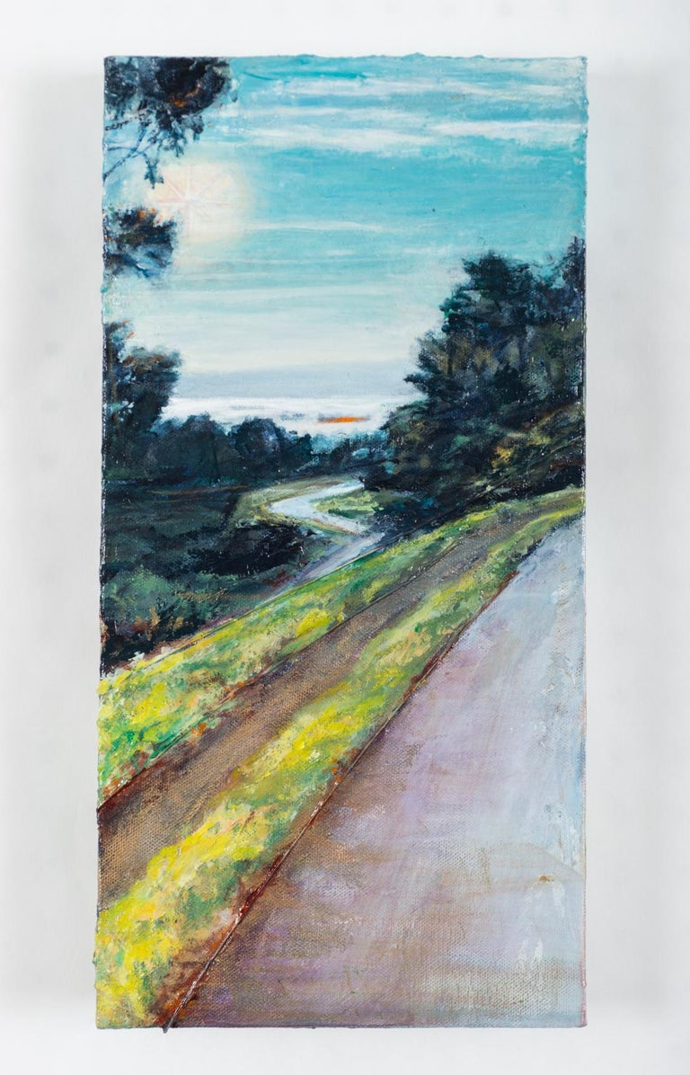 <p>Artist Comments<br />This painting depicts the view from one of Carol Moore's regular morning walks on Bernal Hill in San Francisco. The work is part of her cargo ship series. In these pieces Carol embeds maps and guitar strings to show the music